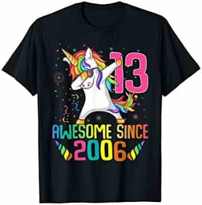 8a8f77c9214b72 13 Years Old 13th Birthday Unicorn Dabbing Shirt Girl Kids T-Shirt