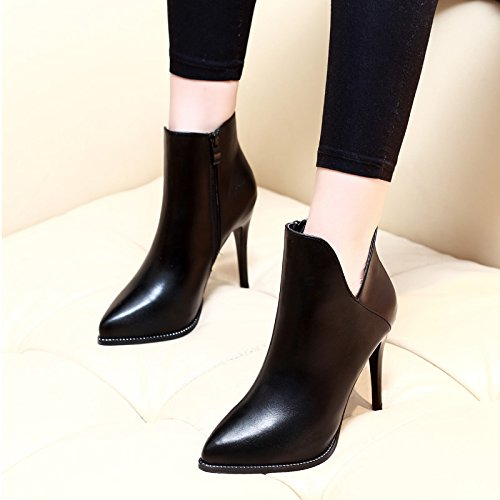HGTYU-Fine With The New Winter Boots High Heels V All Match Martin Boots Ankle Boots And Fleece Winter Shoes Black