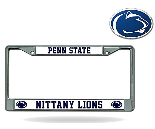 NCAA Official National Collegiate Athletic Association Fan Shop Licensed Shop Authentic Chrome License Plate Frame and Matching Chrome Outlined Colored Auto Emblem (Penn State Nittany Lions)