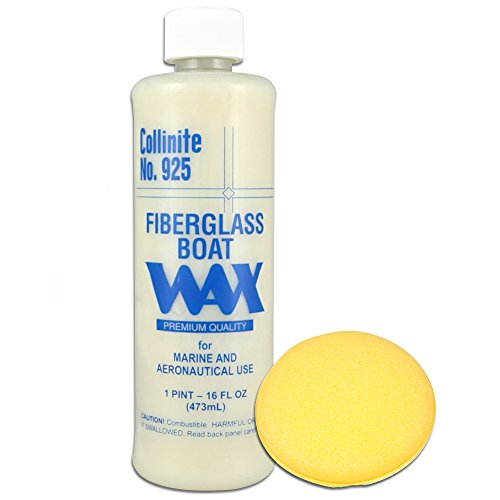 Collinite Liquid Fiberglass Boat Wax Pint #925 with Yellow Foam Pad by Collinite