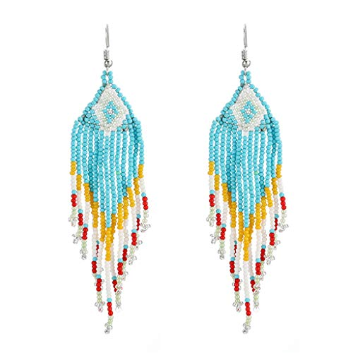 Puxiaoa Bohemian Tassel Drop Earrings Women Long Handmade Beaded Earrings On The Beach Charm Jewelry Gifts Blue