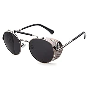 Flowertree STY056 Metal Frame Mesh Fold-in Side Shield Round 52mm Sunglasses (C3-grey+grey, 0)
