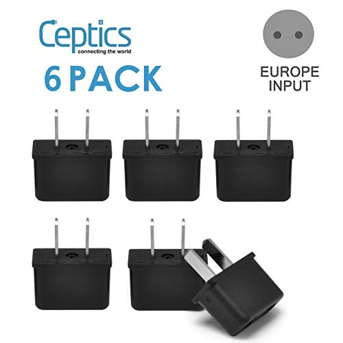 USA American Plug Adapter by Ceptics, Europe Asia China to US 2 Pin Adaptor Type C to Type A Power Wall Adapter, Japan…