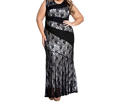 YFFaye Women's Stylish Lace Splice Plus Size Mermaid Prom Dress Black (Silicon Mix Wholesale compare prices)