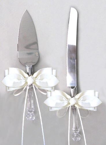 - SACASUSA (TM) Ivory Satin Bow Ribbon Cake Knife and Server Set for Wedding or Ceremony