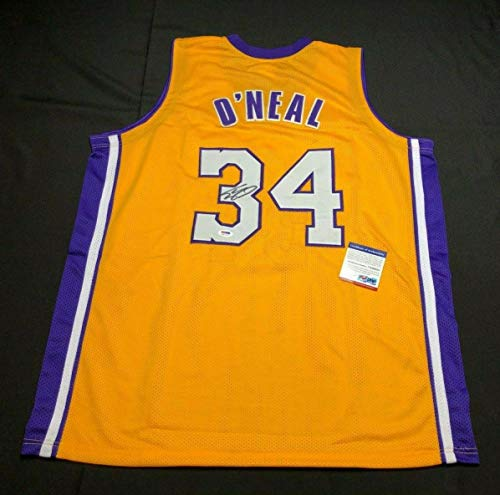 (Shaquille 'Shaq' O'Neal Signed Los Angeles Lakers Basketball Jersey 7A66854 - PSA/DNA Certified - Autographed NBA Jerseys)