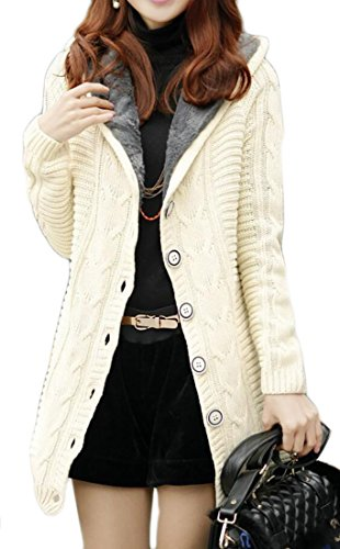 Domple Women Slim Fit Hooded Ribbed Cable Knit Fleece Lined Jacket Cardigan White F Hooded Ribbed Cardigan