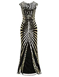 M MAYEVER 1920s Vintage Sequined Mermaid Formal Flapper Gatsby Party Dress