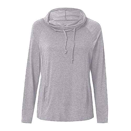 RedBrowm Cowl Women Classic Top Gray Casual Sleeve Neck Hoodie Long Solid Sweatshirt TTRwrS