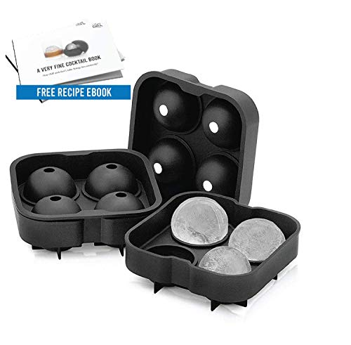 Arctic Chill 2 Inch Ice Ball Mold, Makes Eight (8) Ice Spheres, Keeps your Whiskey Chilled Longer Than Ice Cubes, Made from BPA Free and FDA Approved Silicone, Free Cocktail Recipe Ebook Included (Balls Round Ice)