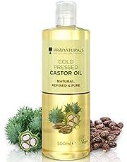 Huile de ricin pressée à froid PraNaturals 500 ml – 100% naturelle, végane, pure, pour encourager la croissance des cheveux et des cils, adoucir la peau et le visage. Riche en OMEGA-6 et OMEGA-9