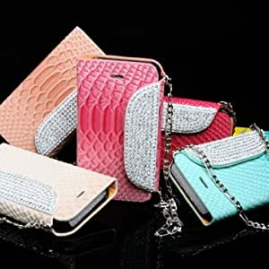 Diamond Bling Fish Scale Leather Stand Case For iPhone 4 4S --- Color:Orange