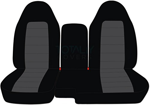 Totally Covers Fits 2004-2012 Ford Ranger/Mazda B-Series Two-Tone Truck Seat Covers (60/40 Split Bench) w Center Console/Armrest Cover: Black & Charcoal (21 Colors) 2005 2006 2007 2008 2009 2010 2011