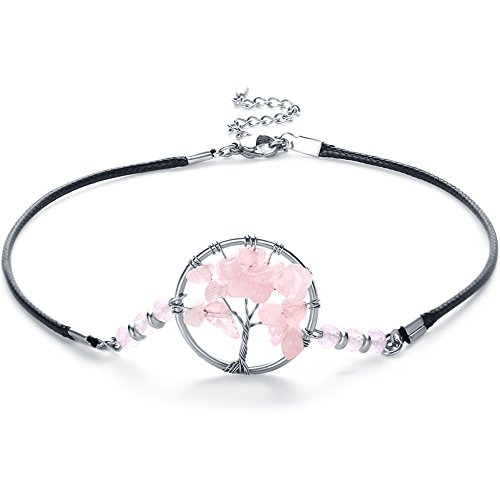 (Feidisi Stainless Steel Pink Choker Necklace - Rose Quartz Choker Necklace For Women, Girlfriend, Girls, Kids)