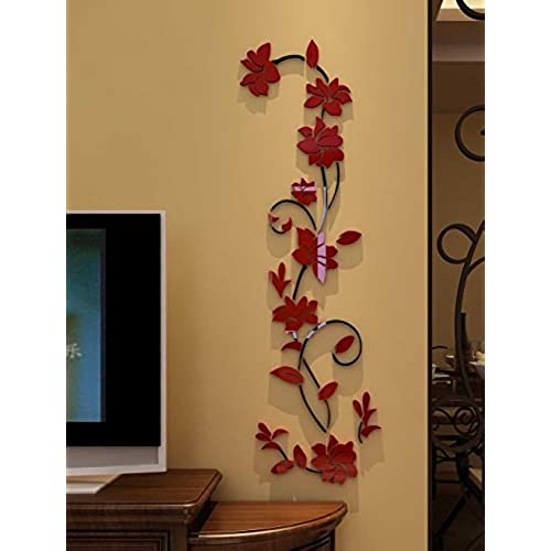 Perfect 3d Rattan Flower Wall Murals For Living Room Bedroom Sofa Backdrop Tv Wall  Background, Originality Stickers Gift, Removable Wall Decor Decal Sticker  (35(H) ...