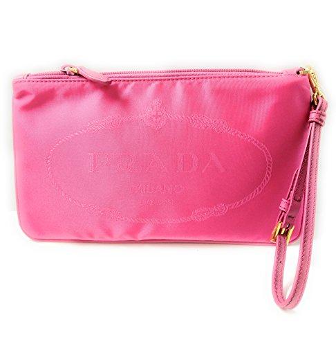 Prada Fuschia Pink Nylon Jacquard Logo Wristlet Cosmetic Bag for Women 1NH545 (Prada Logo Jacquard)
