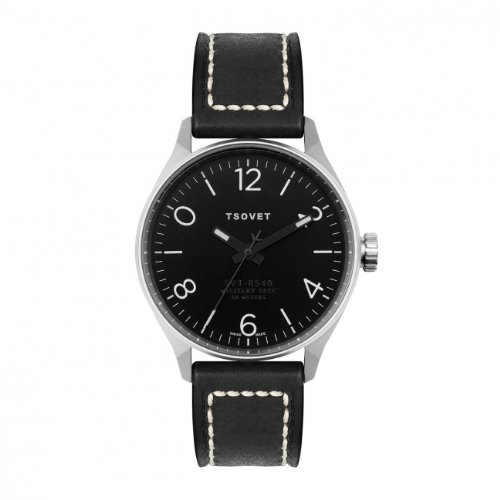 Tsovet Men's Silver w/ Black Dial, Black Leather Band Watch SVT-RS40 (RS111010-01)