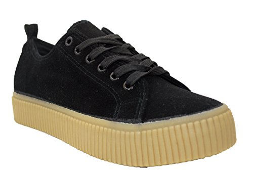 Womens Fashion Sneaker Creepers Plimsolls Trainers Platform Shoes (7, Black)