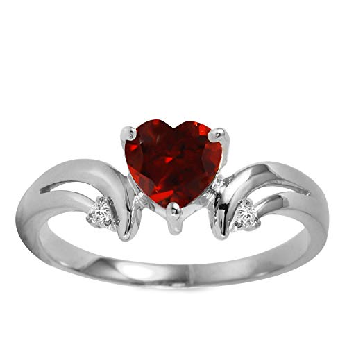 1.26 Carat 14k Solid White Gold Ring with Natural Diamonds and Heart-shaped Garnet - Size 8 ()