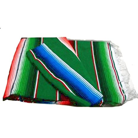 Amazon.com: Verde grande Serape Saltillo mexicano manta 7 ...