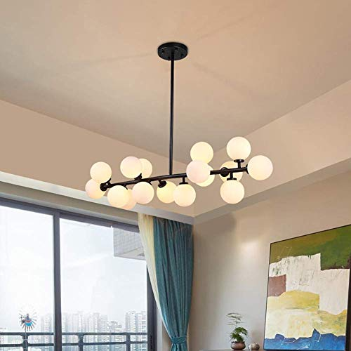 16 Lights Modo Glass Ball Chandeliers Black Brushed Fixture Light with White lampshade, Nordic Magic Beans Molecular Ceiling Light for Living/Dining Room Study Bedroom