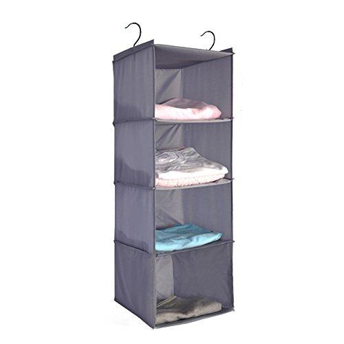 Senior Shop 4-Tier Hanging Closet Organizer, Collapsible Closet Hanging Shelf (gray) by Senior Shop