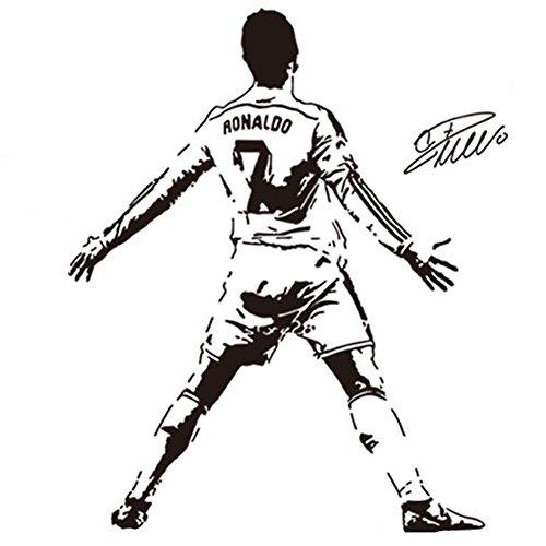 Fangeplus(R) DIY Removable Cristiano Ronaldo CR7 Soccer Player Art Mural Vinyl Waterproof Wall Stickers Kids Room Decor Nursery Decal Sticker Wallpaper34.2''x42.9''
