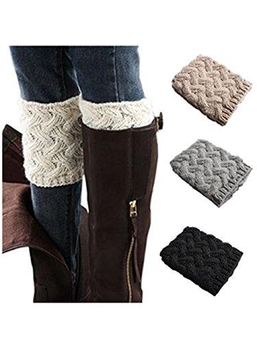 Boot Cuffs Boot (Xugq66 4 Pack Women Winter Crochet Knitted Boot Cuffs Socks Short Leg Warmers (4 Pair-04))