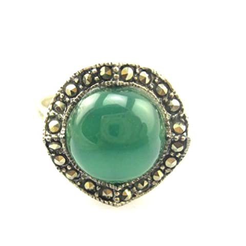 Marcasite Sterling Silver Ring with 11mm Green Agate Vintage Design Style Size 8 (Marcasite Rings Size 11)