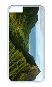 Green natural scenery trees forest grass mountains sea sky clouds PC White Hard Case for Apple iPhone 6(4.7 inch)