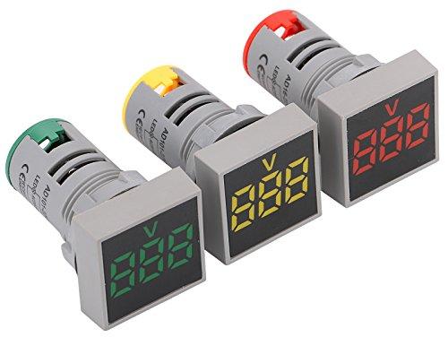 Digital Mini LED Display Voltmeter, Yeeco AC 24-500V Digital Voltage Tester Meter Voltage Meter Monitor 3pcs Green Red Yellow LED Signal Indicator Light Panel