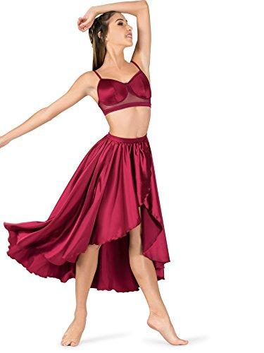 Double Platinum Womens Performance Satin Mock Wrap Skirt N7684AMEML Amethyst ML