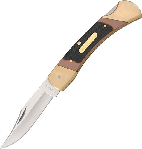 Old Timer 7OT Cave Bear 8.7in Stainless Steel Traditional Folding Knife with 3.9in Clip Point Blade and Sawcut Handle for Outdoor Hunting Camping and Everyday Carry