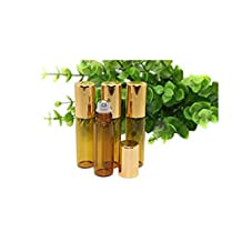 12 Pcs 5ml 0.17oz Empty Refillable Amber Glass Roll on Bottles with Stainless Steel Roller Balls and Gold Lid Perfumes Essential Oil Lip Gloss Balms Roller Bottle Vial Container