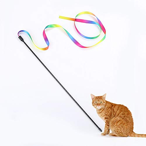 Euone  Christmas, Kitten Cat Pet Toy Chaser Stick Rainbow Streamers Interactive Play Fun Toys