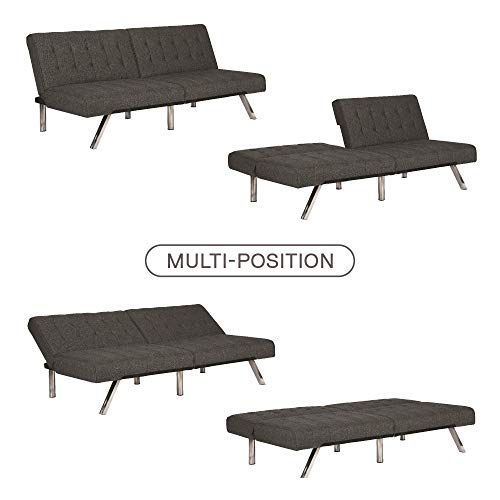 The sofa easily adjusts from sitting, to lounging to sleeping positions and features a split back for added versatility.