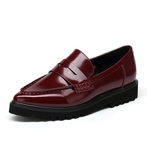 Caen en el coreano versión de asakuchi señaló los zapatos/Señoras cuero casuales zapatos planos B