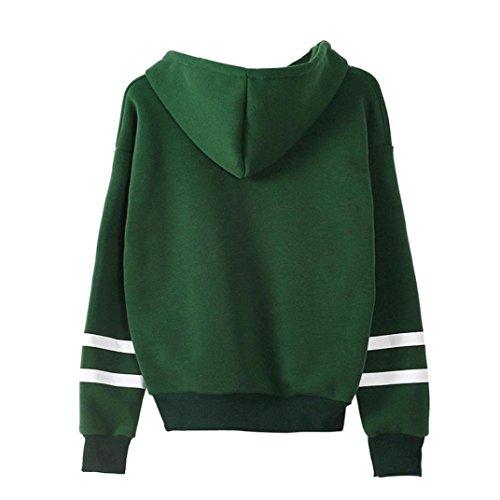 iDWZA Women's Letter Floral Print Sweatshirt Jumper Hooded Pullover Tops Hoodie(XL,Green)