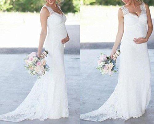 Maternity Wedding Gown: Veilace Women's Lace Maternity Wedding Dress V Neck Empire
