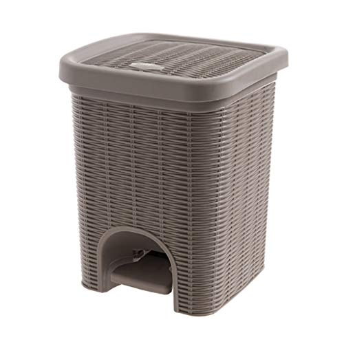 Creative Pedal Trash Can Household Bathroom Kitchen Plastic with Lid Paper Basket (Color : Brown) ()