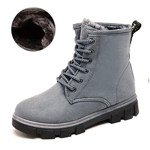 Boots forrada Martin cordones Las de mujeres invierno cuello de de piel c con qEwzFz6O