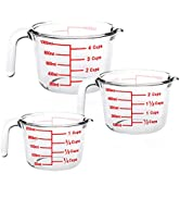 Luvan Lot de 3 Tasses à mesurer en Verre (0,25 L, 0,5 L, 1 L), pichets à mesurer avec poignée et ...
