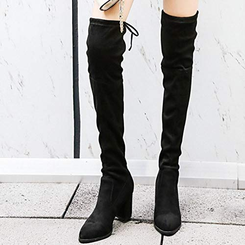 The Mid Fashion Black Melady Heels Above On Women Knee Boots Pull 7gqHY4