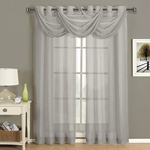 Royal Hotel Abri Gray-Silver Grommet Crushed Sheer Curtain Panel, 50x63 inches