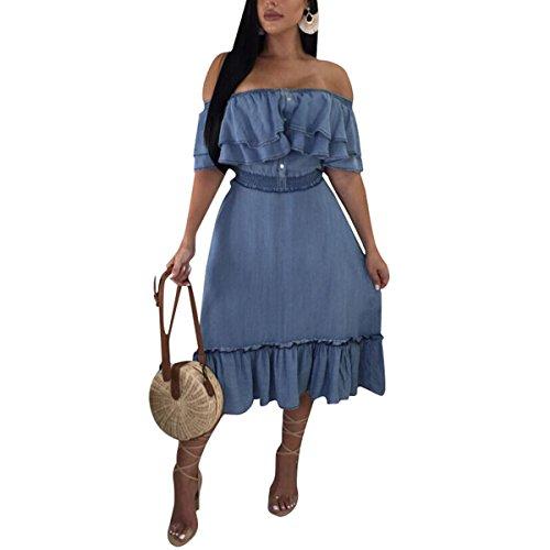 Hvzciuwrn Vestido de Mezclilla para Mujer con volados en los Hombros Vestido de Fiesta Largo Plisado con Pliegues en línea (Color : Azul, tamaño : XL)