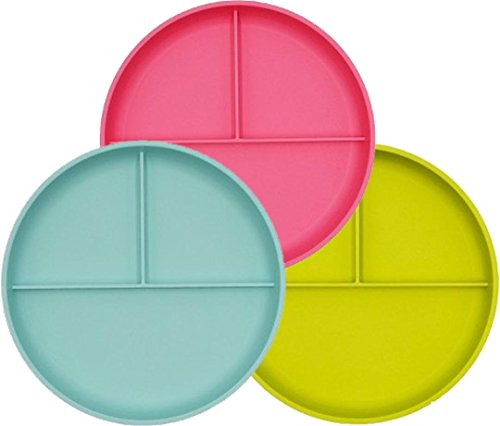 Little Kid's Round Plastic Divided Toddler Plates - 3 Pack - Dishwasher and Microwave Safe - BPA Free - Great for Baby or Older Kids (Pink Taffy, Lime Green & Sea Form Green)