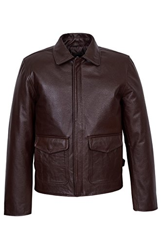 Stile In New Pelle Giacca Bovina Film Di Jones Reale Uomo Indiana Brown pEwddAq