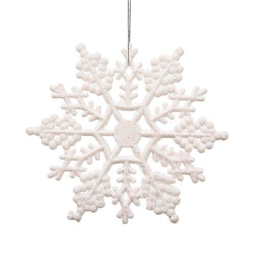 Glitter Snowflake Christmas Ornaments (Vickerman Plastic Glitter Snowflake, 4-Inch, White, 24 Per)