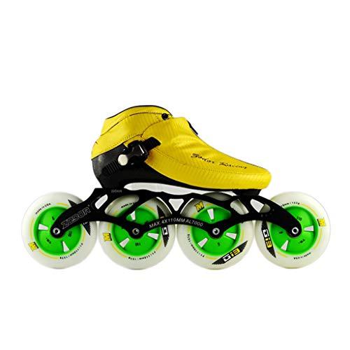 毛皮雄弁なうれしいNUBAOgy インラインスケート、90-110ミリメートル直径の高弾性PUホイール、3色で利用可能な子供のための調整可能なインラインスケート (色 : 青, サイズ さいず : 42)