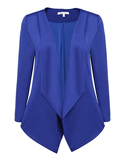 ACEVOG Womens Casual Work Office Open Front Cardigan Blazer Jacket (XX-Large, Blue)